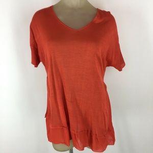 Eileen Fisher shirt top V-neck orange silk Small